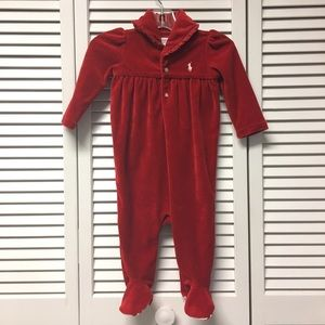 🎄NWOT Ralph Lauren Red Velour Footie Playsuit 6M